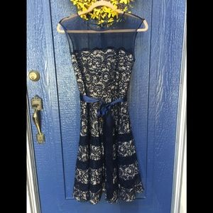 Betsy Adams Fit and Flare Lace DressC9
